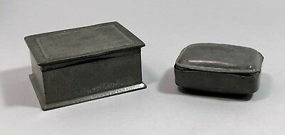 Art Deco pair 2 pewter soap box wood-lined hand-hammered casket Roundhead retro