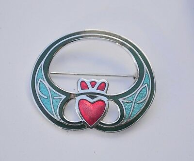 Vintage enamel brooch claddaugh design signed Celtic Sea Gems love knot blue red