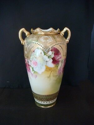 Vintage Antique Nippon Flower Vase Large Hand Painted 11in Tall