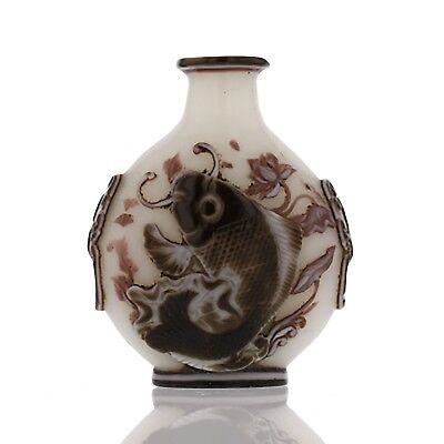 Embossed white glass with burgundy overlay Snuff Bottle fish.  Antique Chinese