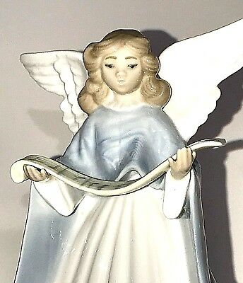 1991 Lladro Spain #5875 Elegant Porcelain Christmas Tree Topper ANGEL Figurine