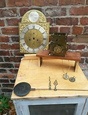 "antique 12"" grandfather clock  movement spares or repairs"