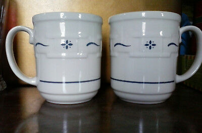 LONGABERGER Woven Traditions Classic Blue Coffee MUGS - 2 Total