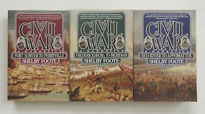 THE CIVIL WAR: A NARRATIVE Complete 3 Volume Set by Shelby Foote