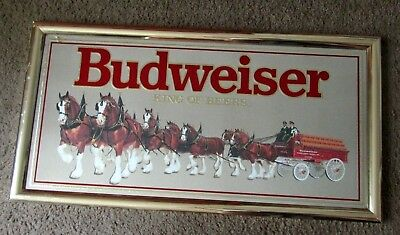 Vintage 1992 Budweiser King Of Beers Clydsdale Delivery Wagon Mirror Sign