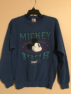 Vintage 80's 90's Mickey Mouse Disney Long Sleeve Crew Neck Size M Made In USA