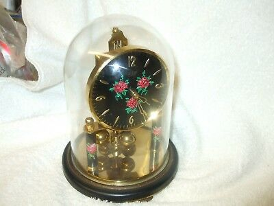 Attractive  'elo' German 400 Day Anniversary Clock With Glass Dome