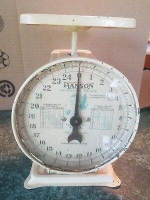 Antique Baby Scale 25lbs Cream Yellow Rustic Vintage, But Works!!