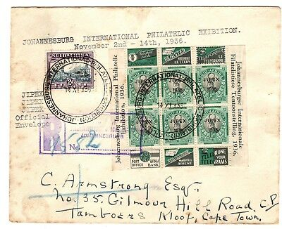 South Africa 1936 registered cover - Johannesburg JIPEX Philatelic exhibition
