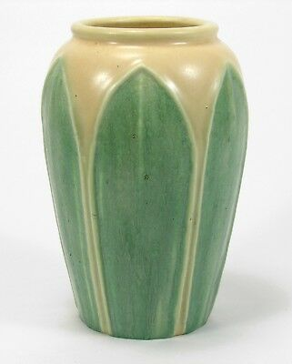 Hampshire Pottery 2 color matte green yellow glaze 6 leaf vase arts & crafts