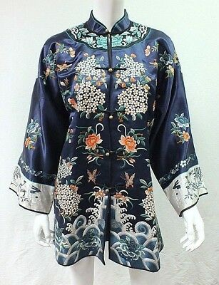 Vintage Beautiful DUNHUANG Blue Floral Embroidered Silk Chinese Robe Kimono