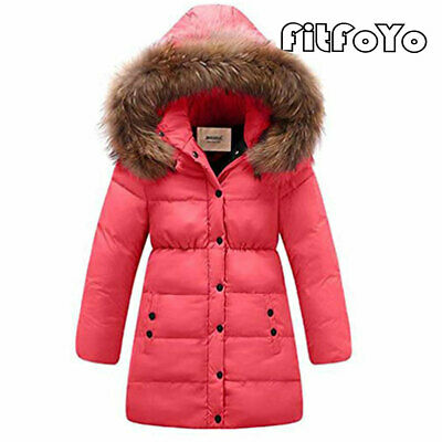 FitfoYo Kids Girls Winter Down Jacket Thick Hooded Children Outwear Coat Fur