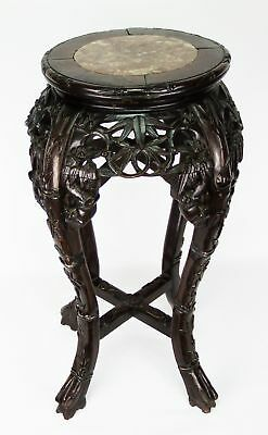 Antique Chinese Carved Wood Marble Inset 23 Inch Table Plant Stand