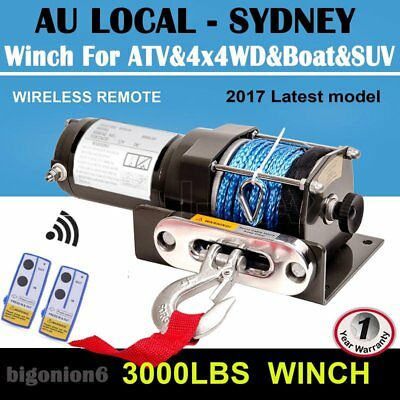 3000LBS/1361KG Electric Winch 12V Synthetic Rope Wireless Remote ATV 4x4WD JY