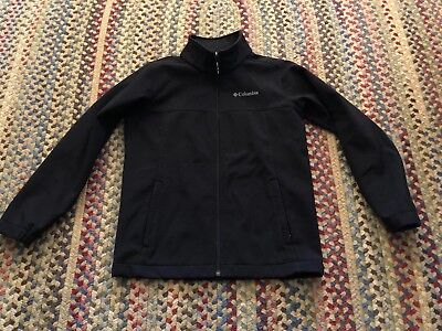 Boys Columbia Soft Shell Jacket Black Size Medium 10-12 Years