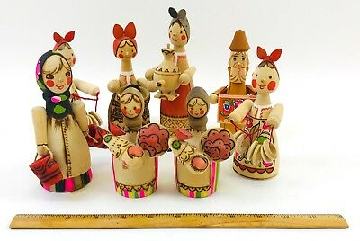 LARGE LOT of Vintage Mid Century Hand Carved Wooden Russian Dolls Hand Painted