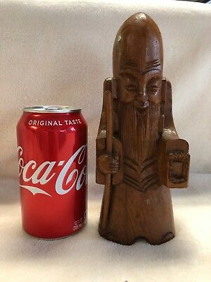 Vintage Wooden Carved Chinese Man Figure