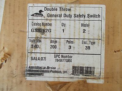 midwest GS3262G 200A 240V 3P outdoor double throw disc