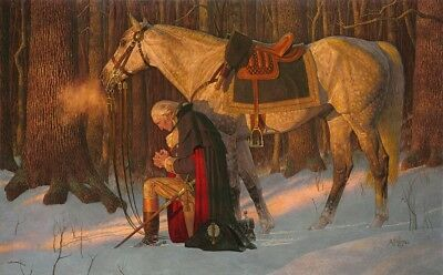 Arnold Friberg PRAYER AT VALLEY FORGE 31x50 S/N Canvas GW Kneeling in Prayer
