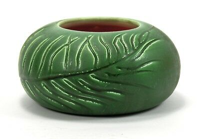 Hampshire Pottery matte green glaze wheel thrown hand carved vase arts & crafts
