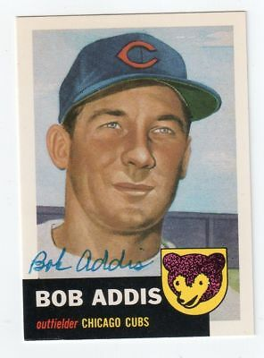 BOB ADDIS Signed 1953 Topps Archives (1991) Card #157 Auto Autograph CUBS