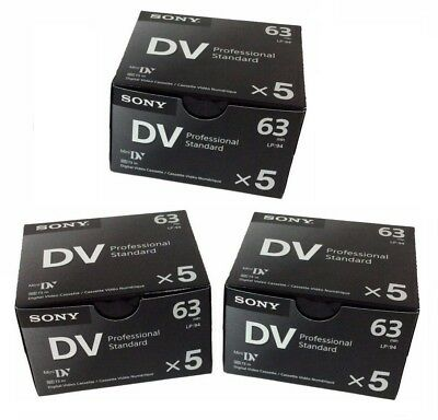 Sony DVM63PS Mini DV Minidv Camcorder video 63min Professional Tape 3x5 Pack=15