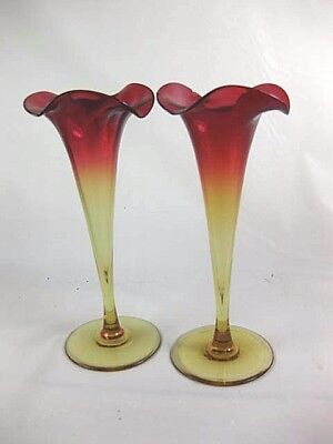 Antique Glass Pair of Amberina Bud Vases Nice Color