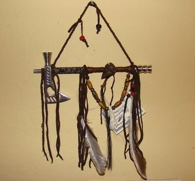 """1-ONE Navajo Peace pipe 8"""" Long w/2 six"""" feathers, BLUE color beads Works!!"""