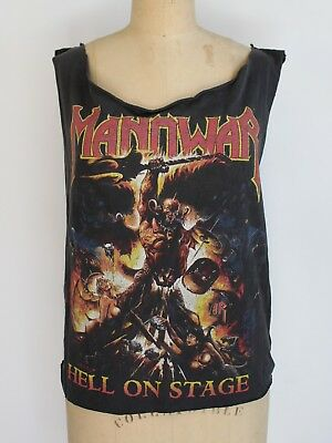 Vintage Manowar tee rock metal band tshirt Hell on Stage 90's Small paperthin