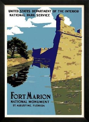Fort Marion National Monument Saint Augustine  Retro poster 1938 restored Custom
