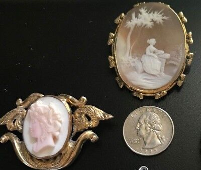 Lovely Antique Cameo Brooches, Lot of Two- Goddess and Pastoral Scene