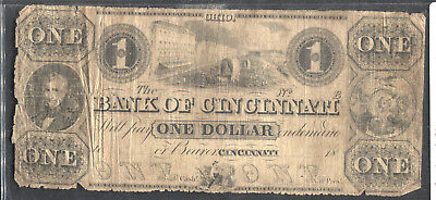 Bank of Cincinnati Ohio 1 Dollar Note Low Grade But All There.
