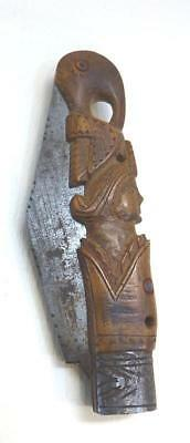 Early 19Th Cent. Italian Figural Folding 2-Blade Knife - Boxwood - Signed Blades