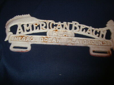 Vintage License Plate Topper American Beach Florida Negro Ocean Playground  Grey
