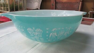 Vtg Large Pyrex Turquoise Amish Butterprint Cinderella Mixing Bowl #444 4 Qt