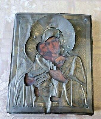 """Antique Russian icon of the Virgin """"Vladimirskaya"""". the end of the 19th Century."""
