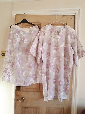 Ladies African style handmade  tunic & skirt cotton georgette pink white 3xL