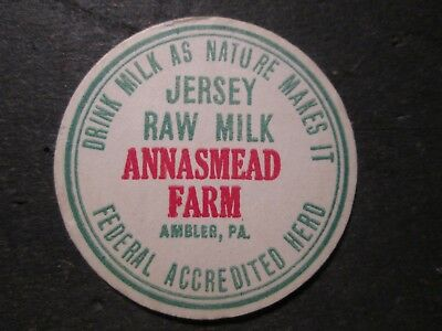 Milk Bottle Cap Annasmead Farm Dairy Ambler Pa
