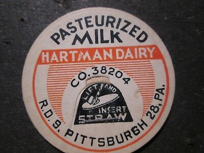Milk Bottle Cap Hartman Dairy Pittsburgh Pa