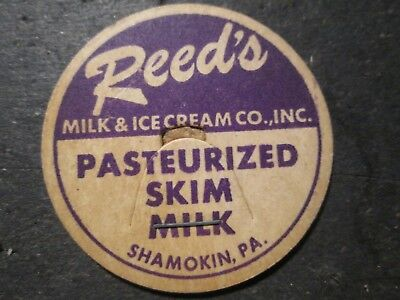 Milk Bottle Cap Reed's Milk & Ice Cream Co Dairy Shamokin Pa