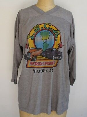 VINTAGE World of Wheels 80s longsleeve T-shirt Tee Racing Hot Rod Medium Large