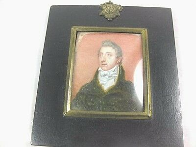 Antique Minature Painting Of Stately Gentleman NICE
