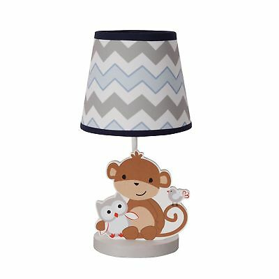 Bedtime Originals Mod Monkey Lamp with Shade & Bulb - Blue, Gray, White, Animals