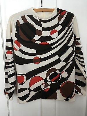 Ladies 1960's MOD Shirt Jane Colby Small Cream Brown USA Polyester