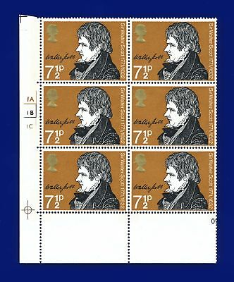 1971 SG886 7½p Sir Walter Scott Cylinder Block (6) 1A1B1C No Dot MNH apkd