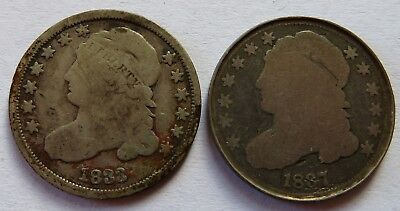 1833 + 1837 Capped Bust Silver Dimes, Vintage Early Date 10C coins  (141815N)