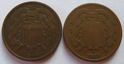1864 + 1868 Two 2 Cents pieces, Vintage 2C coins  (141820N)