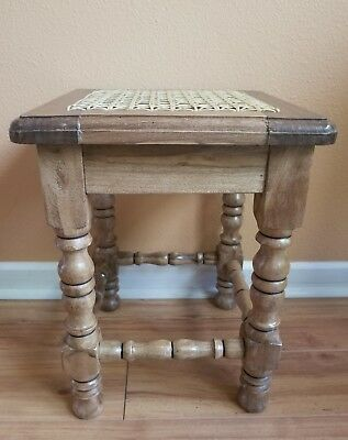 Spanish Hacienda Solid Wood & Cane Stool Bench Ottoman Footrest