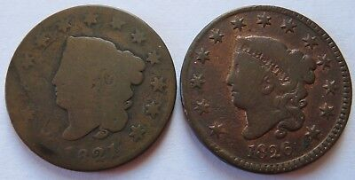 1821 + 1826 Coronet Head Large Cents, Vintage Better Date Penny 1C Coins(141832N