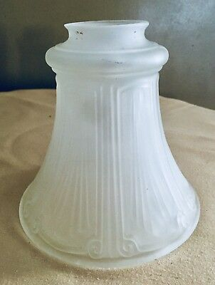 """Antique Victorian Ribbed Frosted Art Deco Glass CHANDELIER Parts SHADE 2 1/4"""""""